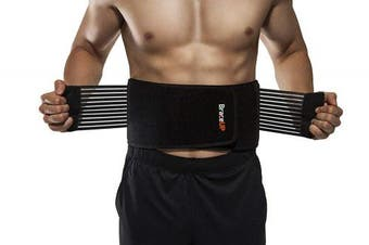 (S/M) - BraceUP Stabilising Lumbar Lower Back Brace and Support Belt with Dual Adjustable Straps and Breathable Mesh Panels (S/M)