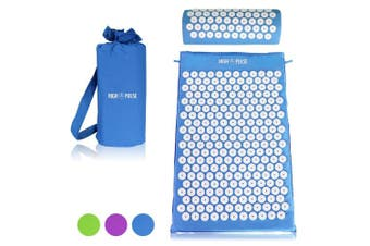 (Blue) - High Pulse acupressure set - acupressure mat and pillow for an effective and simple treatment of systematic pain and tensions (Blue)