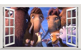 Ice Age: Collision Course V001 Magic Window Wall Sticker Self Adhesive Poster Wall Art Size 1000mm wide x 600mm deep (large)