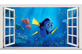 Finding Dory V002 Magic Window Wall Sticker Self Adhesive Poster Wall Art Size 1000mm wide x 600mm deep (large)