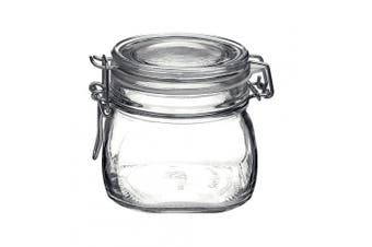 (0.5 Litre, Clear) - Bormioli Rocco Clamp Lid & Silicone Seal Kitchen Storage Jar with Air Tight Seal for Rice Pasta Pickling Food