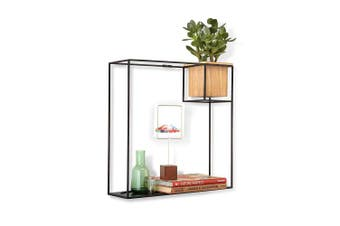 (Black, Large) - Umbra Cubist Floating Shelf with Built-In Succulent Planter – Modern Wall Décor and Geometric Display Shelf for Books, Candles, Mementos, Photos, Indoor Plants and More! | Large, Black
