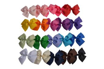 Bzybel 20pcs Boutique 13cm Grosgrain Ribbon Hair Bows Hair Clips Barrettes for Baby Girls Teens Young Women