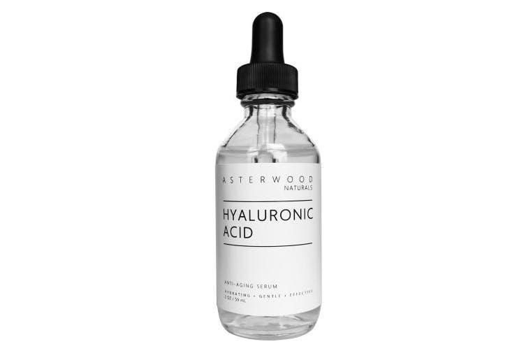 Pure Organic Hyaluronic Acid Serum 60ml - Anti Ageing, Anti Wrinkle - Face Moisturiser for Dry Skin & Fine Lines - Leaves Skin Full & Plump - Asterwood Naturals - 60ml Glass Dropper Bottle