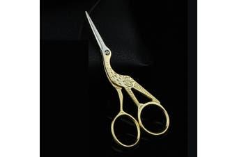 (Gold) - Embroidery Scissors Gold Stork Sewing Scissors Small Sharp for Crafting, Art Work, Threading, Needlework BROSHAN