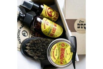 Medicine Man's Anti-Itch Beard Grooming Kit: Beard Wash, Beard Oil, Beard & Moustache Pomade, Beard Brush, Moustache Comb - Earthy Scent - Comes as a Beard Grooming Gift Box