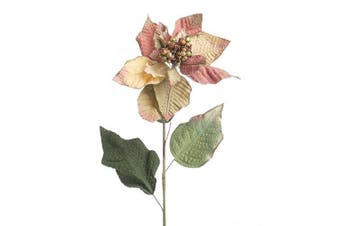 Factory Direct Craft® Group of Gold Glitter Trimmed Green and Rose Artificial Poinsettia Stems for Holiday and Home Decor