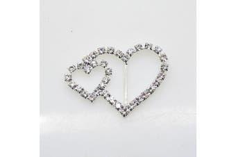 40pcs 39mm x 25mm Heart Shaped Rhinestone Buckle Slider for Wedding Invitation Letter