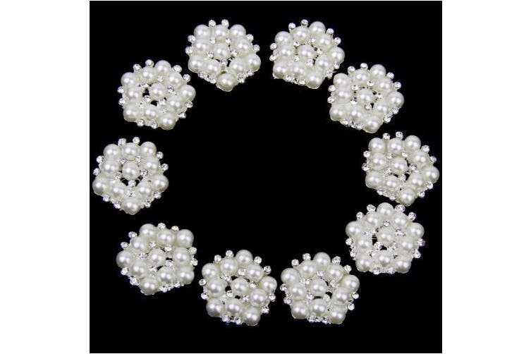 10pcs 20mm Rhinestone Flower Embellishments Button Flatback
