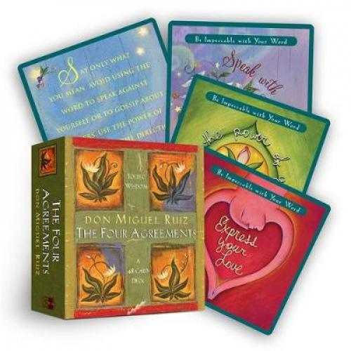 The Four Agreements Cards Based on don Miguel Ruiz's New York Times bestselling book, The Four Agreements, the 48 cards in this deck provide a simple yet powerful code of conduct for attaining personal freedom and true happiness. There are 12 cards corresponding to each of the four agreements- (1) Be impeccable with your word; (2) Don't take anything personally; (3) Don't make assumptions; and (4) Always do your best. These cards will help you transform your life as you recover the awareness and wisdom of your authentic self!