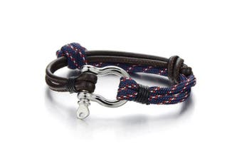 Mens Women Steel Screw Anchor Shackles Nautical Sailor Rope Cord Leather Wrap Bracelet Wristband