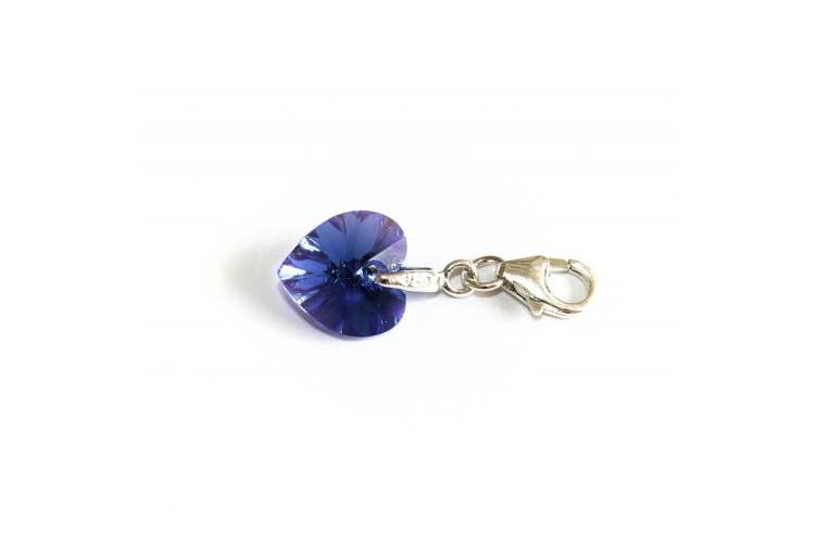 Genuine Silver 925 lovely blue colour crystal heart clip on charm ideal for Thomas Sabo bracelet or necklace