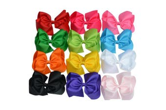 (Mix colors) - Bzybel Boutique 19cm Big Large huge Hair Bows Grosgrain Ribbon Headbands Hair Clips for Young Girls Teens young Women