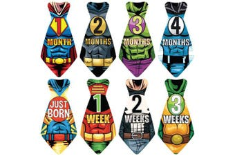 """NEW! Stick'Nsnap (TM) 17 Baby Monthly Necktie Onesie Stickers - """"Happy Heroes"""" (TM) Milestones for 12 Months + for a limited time, 5 Bonus Milestones - Great Baby Shower Gift!"""