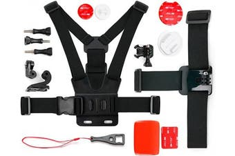 (Action Camera Kit) - DURAGADGET Action Camera 17-in-1 Extreme Sports Accessories Bundle Compatible with the Kaiser Baas X150