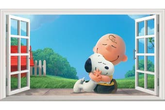 Peanuts Movie Charlie Brown and Snoopy V001 Magic Window Wall Sticker Self Adhesive Poster Wall Art Size 1000mm wide x 600mm deep (large)