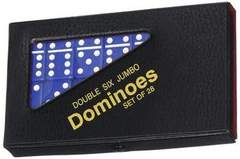 (1, Blue) - Double 6 Jumbo Dominoes - Blue