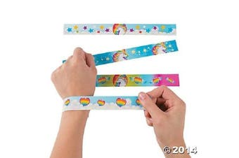 (12) - Fun Express Unicorn Metal Slap Bracelets - 12 Pieces