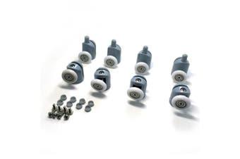 (23MM) - Shower Door Rollers, Set of 8 Single Shower Door Runners / Wheels / Pulleys / Guides 23mm Diameter Home Bathroom DIY Replacement Parts(4 upper rollers and 4 bottom rollers)
