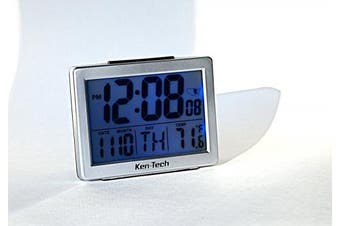 Ken-Tech T-4652 Atomic Radio Controlled LCD A larm Clock, 3.8cm , Black Blue Light
