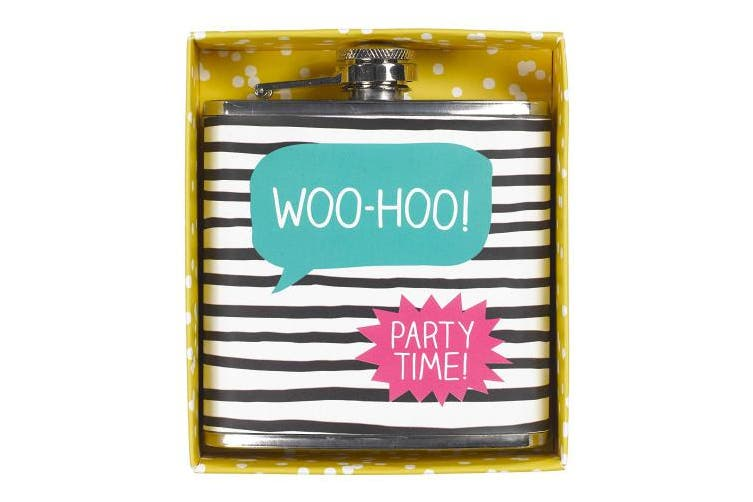 Happy Jackson Hip Flask Woo Hoo, Stainless Steel, Multi-Colour, 3 x 10.1 x 12 cm