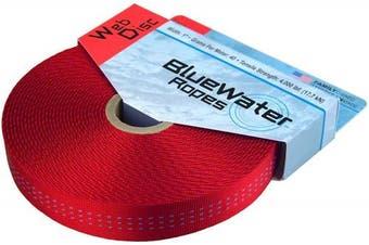 (2.5cm  x 9.1m, Red) - BlueWater Tubular Climb-Spec Webbing - 2.5cm x 9.1m