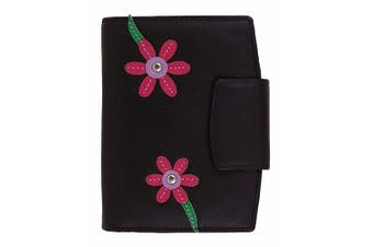 (Black) - Mala Leather Blossom Tri Section Purse / Wallet