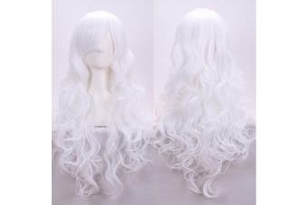 (White) - AneShe 80cm Fascinating Long Curly Hair Wig Costume Cosplay Party Wigs (White)