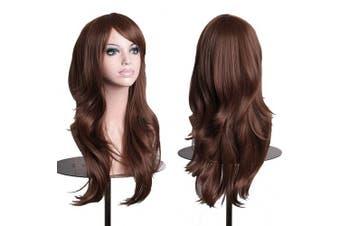 (Dark Brown) - AneShe Wigs 70cm Long Wavy Hair Heat Resistant Cosplay Wig for Women (Dark Brown)