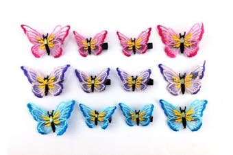 yueton 12pcs Colourful Embroidery Organza Butterfly Barrettes Bobby Pin Metal Alligator Clip Hair Clips Bride Head-wear Edge Clip Clamps