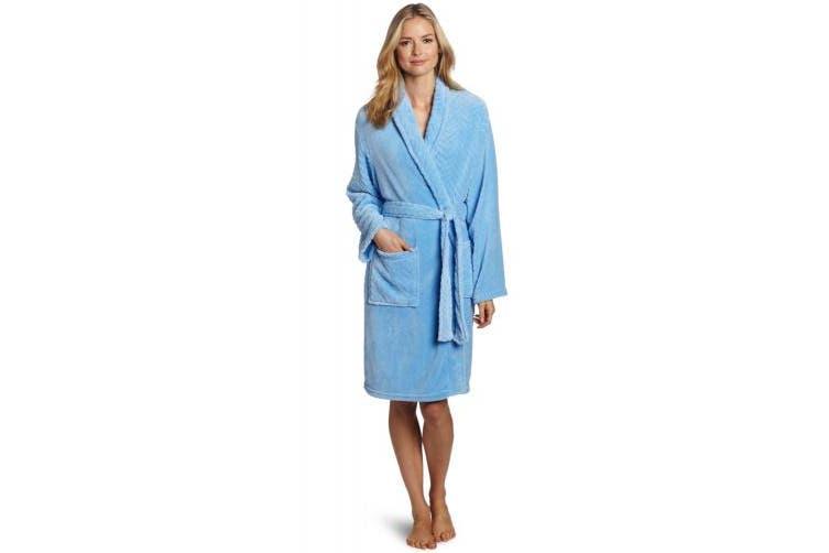 (Blue) - Seven Apparel Hotel Spa Collection Herringbone Textured Plush Robe, Blue