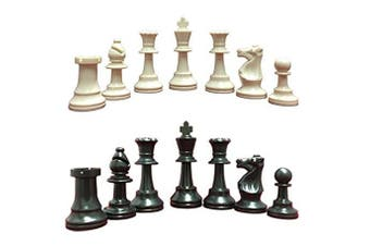Standard School and Club Chess Set - 34 Ivory/Black Pieces (2 Extra Queens) - - 9.5cm King - Green 50cm x 50cm Chess Board - Tube (Archer Quiver) Green Tote