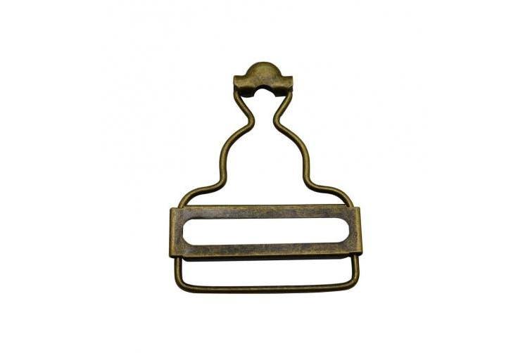 Amanaote 3.8cm Inside Bottom Size Bronze Dungaree Fastener Suspender Buckle with slider Pack of 10