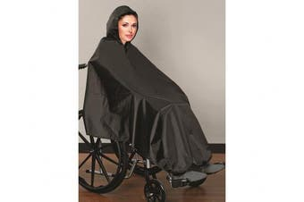 AdirMed Wheelchair Rain Poncho with Hood and Plastic Snaps Neck Closure - Black