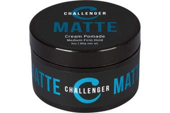(90ml) - Matte Cream Pomade - Challenger 90ml - Medium Firm Hold - Water Based, Clean & Subtle Scent, Travel Friendly. Hair Wax, Fibre, Clay, Paste, Styling Cream All In One