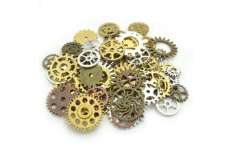 (Gold,Silver,Bronze,Copper) - 100 Gramme Assorted Antique Steampunk Gears Charms Pendant Clock Watch Wheel Gear for Crafting, DIY Jewellery (Gold,Silver,Bronze,Copper)