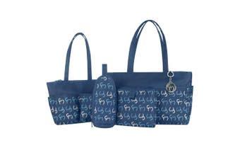 Clevamama Nicole Tote Nappy Bag Set, Navy