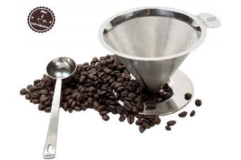 Pour Over Coffee Maker Dripper + Spoon by Bar Brat / Single Serve Premium 304 Stainless Steel Reusable Drip / Heat Resistant Handle / 110 Cocktail Recipe Ebook Included