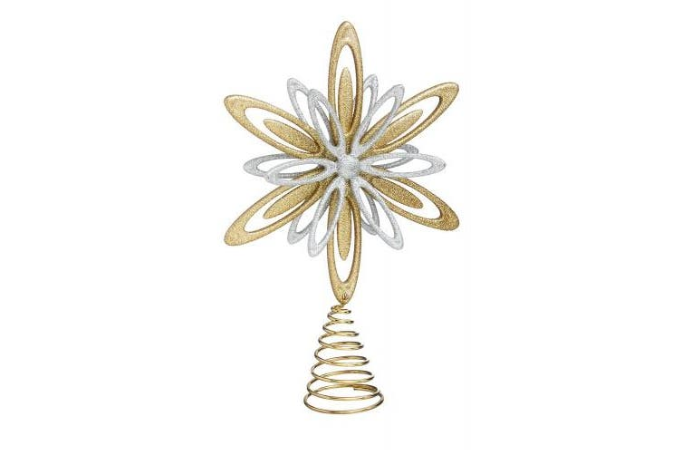 Cypress Home Gold and Silver Star Christmas Tree Topper