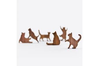 COMMA Wooden Cat Pile - Set #5 (Purple Threaded Pouch, 6 Kittens)