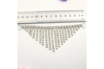 AngHui ShiPin 4pcs/lot 140mm Charm Metal Chain Buttons Crystal Rhinestone Bikini Swimwear Connectors/ Buckle For Swimwear