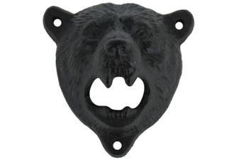 (black Catcher+Black Bear) - Sea Star Cast Iron Wall Mount Grizzly Bear Teeth Bite Bottle Opener with Black Catcher(black Catcher+black Bear)