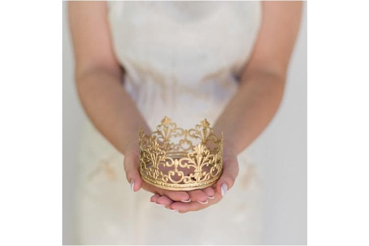 (Gold) - Gold Crown Cake Topper, Vintage Crown, Small Gold Wedding Cake Top, Princess Cake, The Queen of Crowns