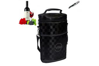 (black grid) - Vina® 2-bottle Wine Carrier Bag, Insulated Wine Carrier Tote, Champagne Cooler Travel Bags, Insulated Wine Bottle Tote, Black Grid+Free Corkscrew