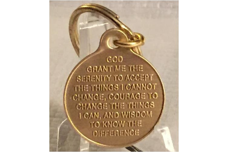 One Day At A Time Praying Hands 2.5cm Bronze Key Chain Serenity Prayer