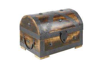 (Pirat L dunkel 28x20x20cm) - Brynnberg - Pirate Treasure Chest Storage Box - Durable Wood & Metal Construction - Unique, Handmade Vintage Design With A Front Lock - Striking Decorative Element - The Best Gift (Pirat L dunkel 28x20x20cm)