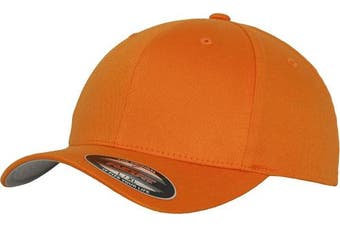 (S/M, Orange - Orange) - Adult Flexfit Woolly Combed Cap