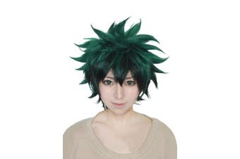 Cfalaicos My Hero Academia Boku no Hiro Akademia Izuku Midoriya Cosplay Wigs Short Green Black Gradient Synthetic Hair Wig