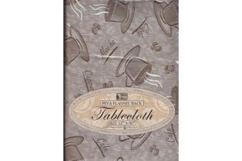 (Coffee) - Flannel Back Kitchen Tablecloth Multi Design & Colour Selection 130cm X 230cm Oblong 6-8 Seats Peva Table Cloth (Coffee)