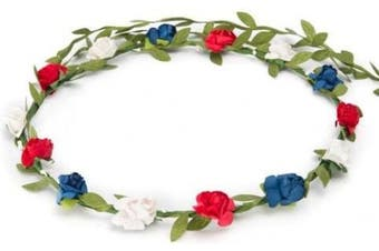 BFD One boho floral head garland flower headband floral headdress wedding festival (red white and blue flowers)